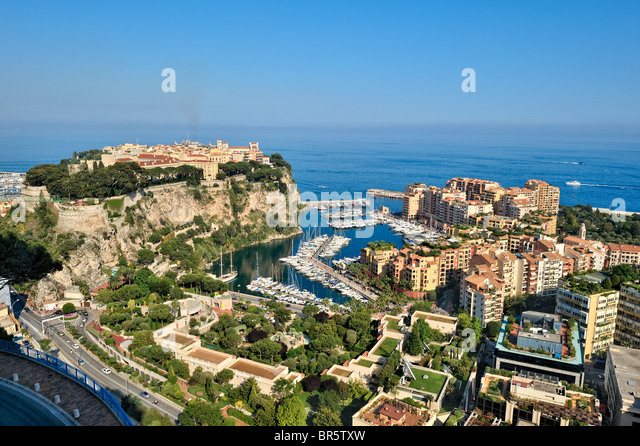 Fontvieille harbour, Monaco, France. - Stock Image