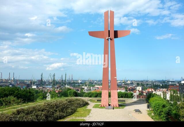 Góra Gradowa on the Krzyż Milenijny overlooking Gdansk, Poland, central/eastern Europe. June 2017. - Stock Image