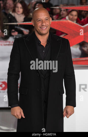 London, UK. 10 January 2017. Vin Diesel. Cast and celebrities red carpet arrivals for the European Premiere of xXx: - Stock Image