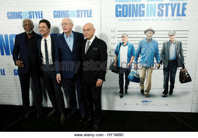 (From R-L) Actors Alan Arkin, Michael Caine, Director Zach Braff and actor Morgan Freeman pose on the red carpet - Stock Image