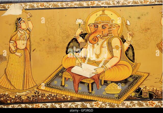 Wall painting of Ganesha engaged in writing Mahabharat dictated by Maharshi Vyas at Mehrangarh Fort, Jodhpur, Rajasthan, - Stock Image