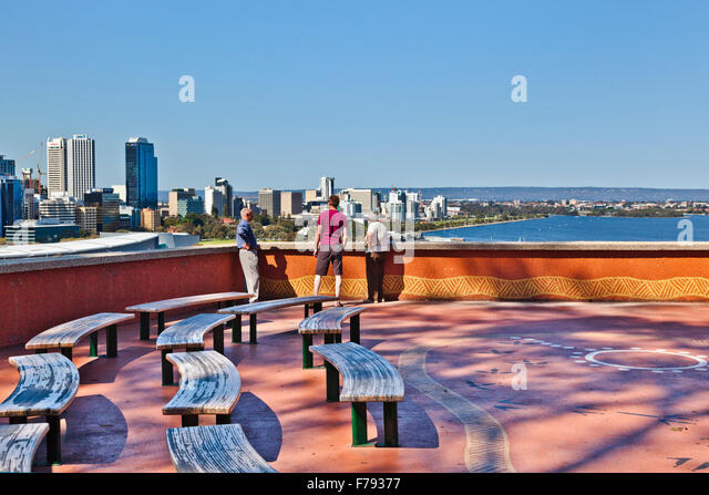 Australia, Western Australia, Perth, Kings Park, Perth skyline and the Swan River from Kaarta Gar-up Lookout - Stock Image
