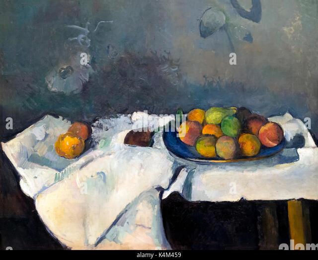 Still Life, Plate of Peaches, by Paul Cezanne, 1879-1880, Solomon R. Guggenheim Museum, Manhattan, New York City, - Stock Image