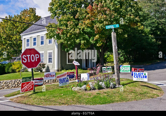 Local politics election campaign signs, Rockport Maine, USA - Stock Image