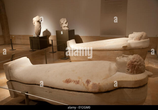 Anthropoid Sarcophagi, found in 'Ayin el Helwe near Sidon , 5th. c. B.C. .Beirut National Museum. Beirut. Lebanon. - Stock-Bilder