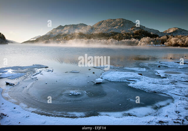 Winter scene on Loch Shiel, Lochaber - Stock Image
