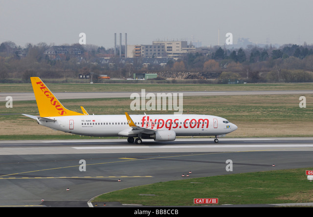 Pegasus Boeing 737-800 on the runway, flypgs.com, Turkish airline, Duesseldorf International Airport, North Rhine - Stock Image