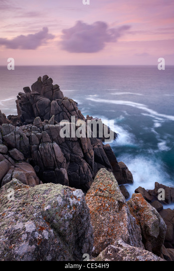 Dawn skies above Hella Point near Porthgwarra, Cornwall, England. Autumn (September) 2011. - Stock Image