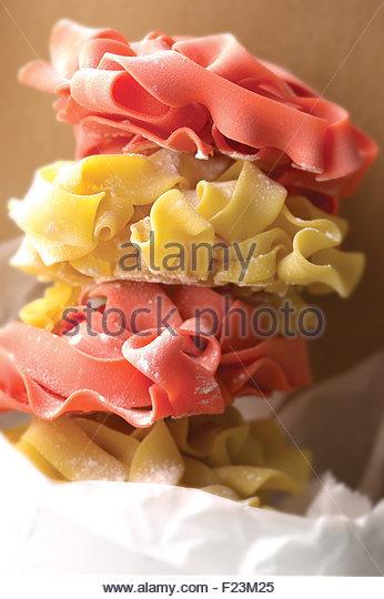 Dry hand fresh made Pappardelle pasta - Stock-Bilder