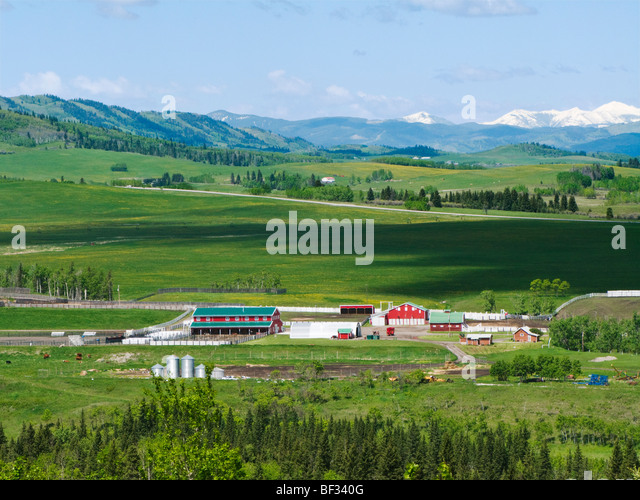 Ranch buildings including barns, corrals & out buildings in the foothills along the Rocky Mountain Front Range - Stock-Bilder