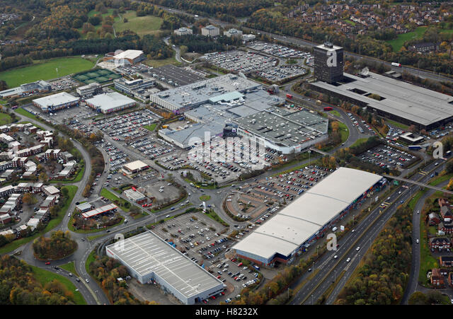 aerial view of Washington County Durham town centre and Galleries Shopping Centre, Tyne & Wear, UK - Stock Image