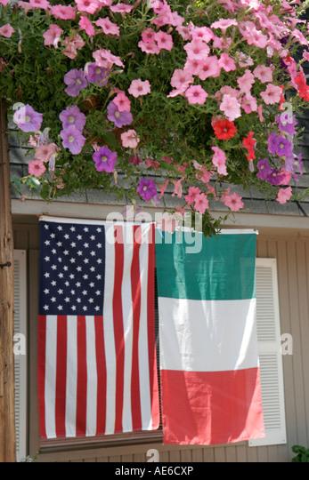 Cleveland Ohio Little Italy US Italian flag - Stock Image