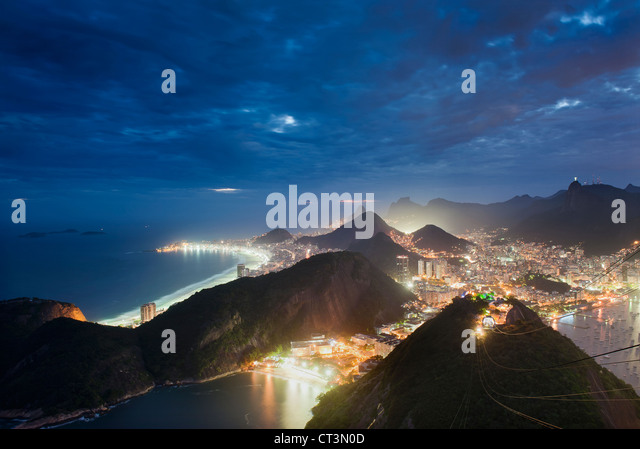 Aerial view of Rio de Janeiro at night - Stock Image