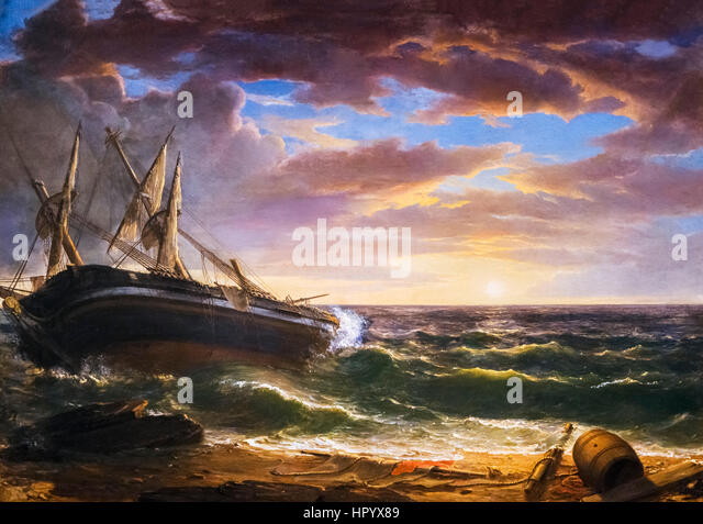 Asher B Durand (1896-1886) 'The Stranded Ship', oil on canvas, 1844 - Stock Image