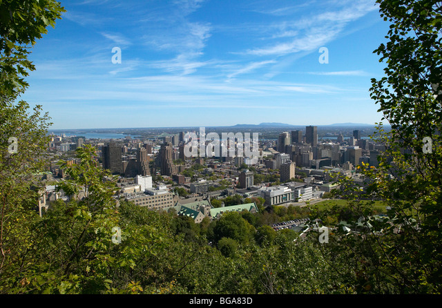View of Montreal from Mont-Royal Park, Canada - Stock Image