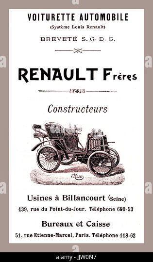'RENAULT Freres constructeurs'  Automobiles Year 1900 page advertisement in first ever Guide Michelin for - Stock Image