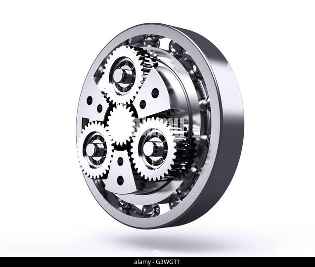 planetary gear isolated on a white background. - Stock Image