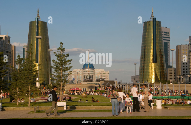 Nurzhol Boulevard, or 'Radiant Path in center of Astana capital of Kazakhstan - Stock Image