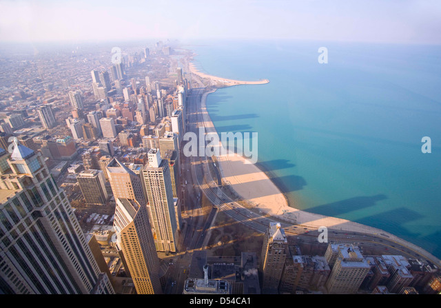 Chicago highrises photographed from the 94th floor of the John Hancock Building - Stock Image