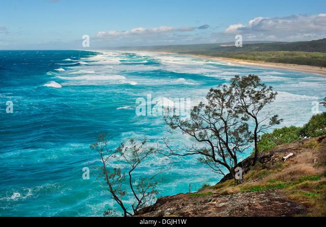 The coast of North Stradbroke Island in Queensland. - Stock-Bilder