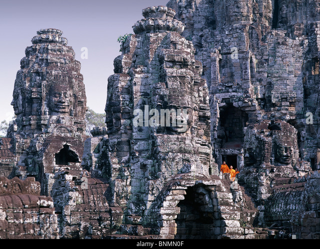Cambodia Far East Asia Siem Reap Bayon temple religion cultural site culture stone figures figures travel place - Stock-Bilder