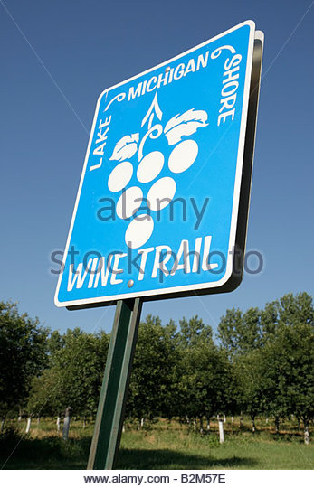 Michigan Coloma Lake Michigan Shore Wine Trail sign information tour grapes vineyards viticulture agritourism - Stock Image