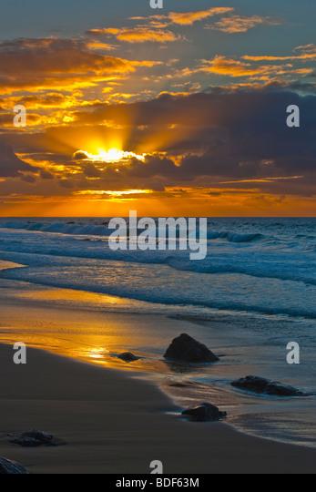 Sunset on empty beach Fuerteventura Canary Islands Spain - Stock Image