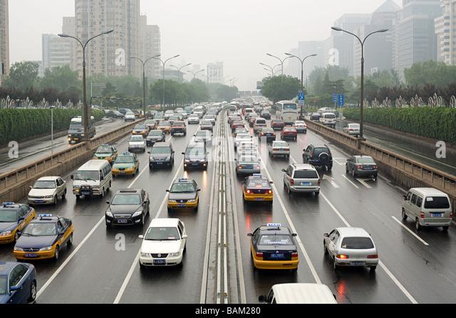 Traffic on beijing road - Stock Image
