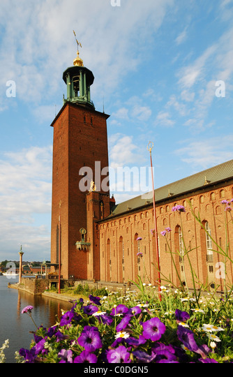 Town hall of Stockholm in morning light - Stock Image