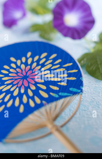 Fan and Morning Glory - Stock Image