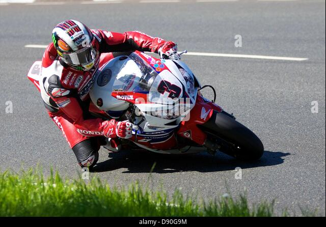 Isle of Man, UK. 7th June, 2013.   John McGuinness on his Honda during the Pokerstars Senior TT race at the Isle - Stock Image