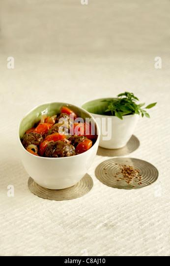 Beef meatball and carrot Tajine - Stock Image