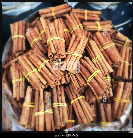 Cinnamon sticks for sale - Stock Image