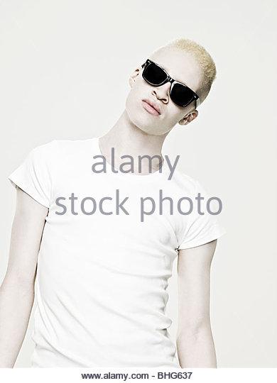 Cool young albino man - Stock-Bilder