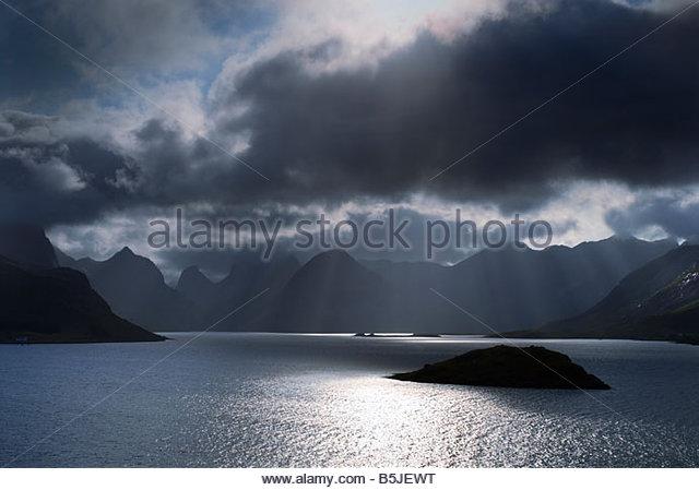 Stormy skies, Lofoten Islands, Norway. - Stock-Bilder
