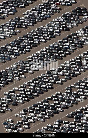 The Netherlands, Rotterdam, Port. Car Terminal. Aerial. - Stock Image
