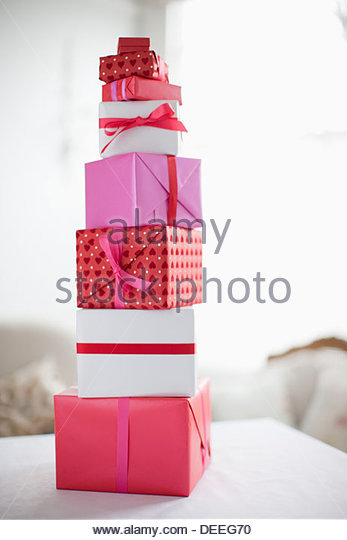 Stack of Valentine's Day gifts - Stock Image