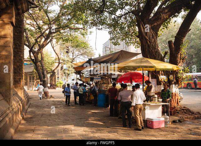 Chai stall, Mumbai (Bombay), India, South Asia - Stock Image