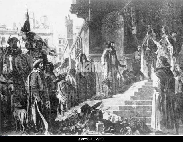 Return of Christopher Columbus, 1493 - Stock-Bilder