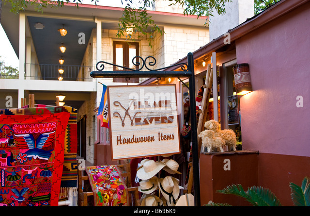 La Villita weavers handwoven shopping souvenirs historic arts village san Antonio texas tx tourist attraction shopping - Stock Image