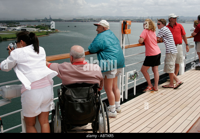 Puerto Rico San Juan Bay Holland America Line ms Noordam Observation Deck wheelchair disabled passengers - Stock Image