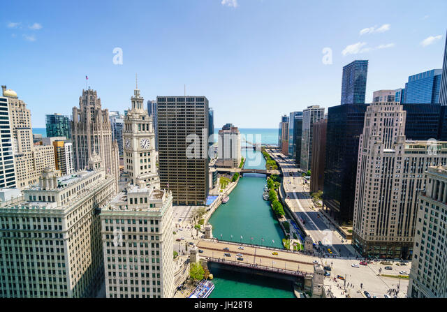 Towers along the Chicago River towards Lake Michigan, Chicago, Illinois, United States of America, North America - Stock Image