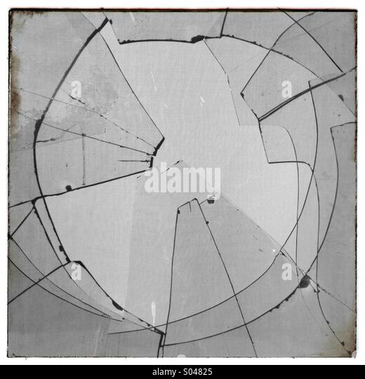 Broken window pane glass - Stock Image