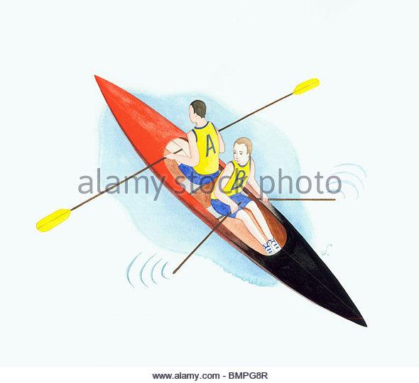 Men sitting back to back in rowboat - Stock Image