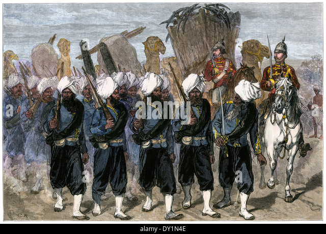 Punjab regiment joining British forces in the Afghan War, 1878. - Stock Image