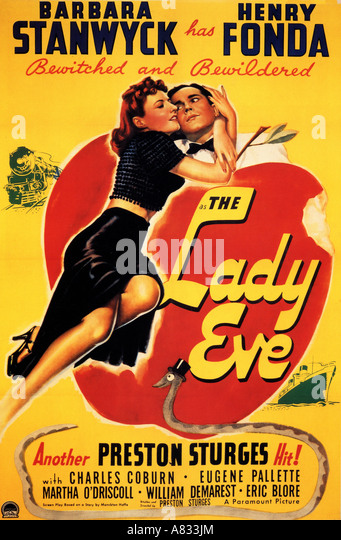 THE LADY EVE - poster for 1941 Paramount film with Barbara Stanwyck and Henry Fonda - Stock Image