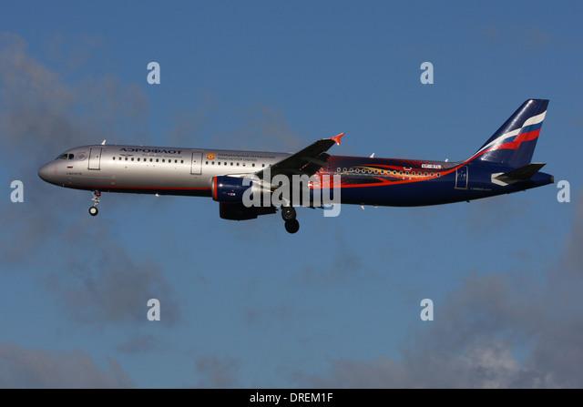 AEROFLOT AIRBUS A321 MANCHESTER UNITED PLANE - Stock Image
