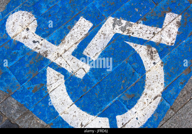 Grungy tone of sign disabled - Stock Image