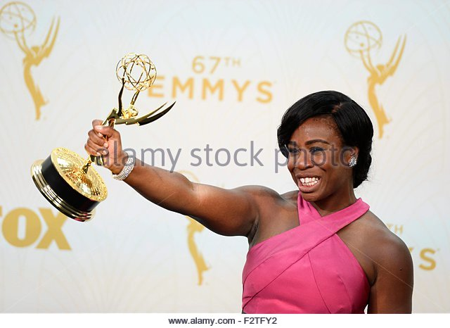 epa04942021 Uzo Aduba, winner of the Outstanding Supporting Actress in a Drama Series award for 'Orange Is the - Stock Image