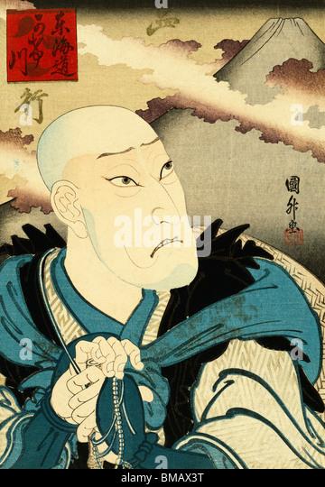 Actor as the Priest Saigyottoshi, by Utagawa Kunimasa. Japan, 20th century - Stock Image